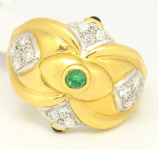 Vintage 18k Yellow Gold 0.65tcw Sapphire, Emerald W/ Diamonds Abstract Ring, 6