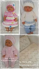 Honeydropdesigns Set 2 * 4 PAPER KNITTING PATTERNS * For Baby Born/17 Inch Dolls