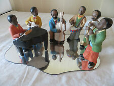 7 Piece African American Black Jazz Band Figurines Figures Statues Piano Mirror