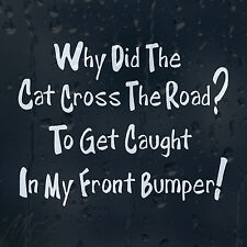 Why Did The Cat Cross Road? To Get Caught In My Bumper Car Decal Vinyl Sticker
