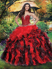 New 2016 Red/Black Quinceanera Dresses Sweet 16 Prom Ball Pageant Dress Custom