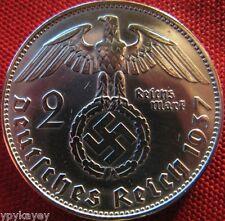 Nazi German 2 Reichsmark SILVER 1937 Genuine Coin Third Reich EAGLE SWASTIKA