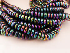 40 x 6mm Rainbow Coloured Non-Magnetic Hematite Rondelle Abacus Flat Disc Beads