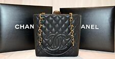 Authentic CHANEL CC Black Caviar Quilted Leather Gold Chain Petite Shopper MINT