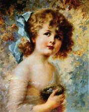 Little girl with a nest with eggs vintage art by Emile Vernon