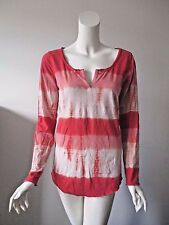 Lucky Brand Crimson Red Tie Dye Stripe Keyhole Neck Long Sleeve Top M