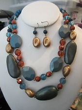 Two Layers Multi Teal And Brown Lucite Bead Necklace Earring Set