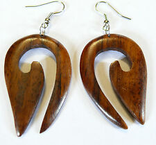 Boucles d'Oreilles en Bois Artisanat Bijoux Ethnique Tribal Wooden Earrings