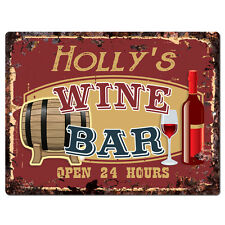 PWWB0186 HOLLY'S WINE BAR OPEN 24Hr Rustic Tin Chic Sign Home Decor Gift