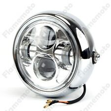"Chrome Motorcycle Projector Daymaker LED 6.5"" Head Light Lamp For Harley Bobber"