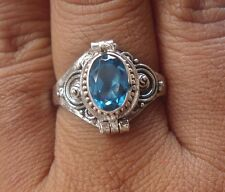 925 Solid Silver Balinese Poison Locket Ring With Blue Sapphire Size 6-H67