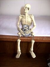 """Skeleton with Pot of Bones"" Shelf Sitter Skeleton Figure with Dangle Legs"