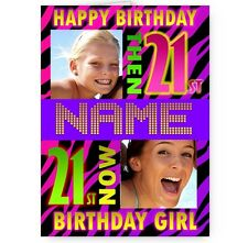 Personalised Then & Now Photos 21st A5 Happy Birthday Card with Envelope