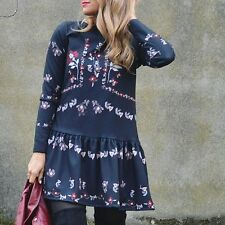 ZARA AW16 NAVY BLUE EMBROIDERED DRESS SIZE EXTRA SMALL  XS Ref. 3440/248