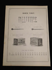 """Vntg PB & M Brand Horse Shoe Nails """"A"""" 1880-90's Hobbs Hardware Catalog Page HHO"""