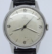 VINTAGE 1940's Omega 33mm Steel Mens Manual Watch c.280 Original Dial Unpolished