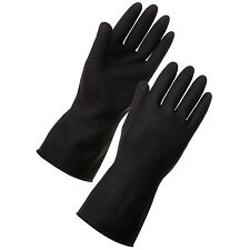 Heavy Duty Household Industrial Gardening BLACK Rubber Latex Gloves Size 9 Large