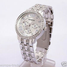Womens Fashion Geneva Crystal Bracelet Wrist Watch Silver Designer Style