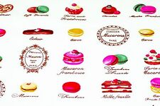 FQ  Ivory White Cute Cake , Chocolate , Macaroon French Style 100% Cotton Fabric