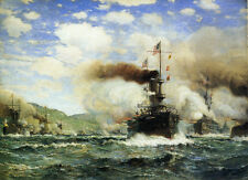 USS Olympia in Battle  by James Gale Tyler   Paper Print Repro