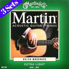 3 SETS OF CUERDAS DE GUITARRA ACÚSTICA DE MARTIN EXTRA LIGHT 10-47