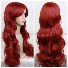 Dark Red Europe Women Lady Fashin Long Wave Curly Heat Resistant Hair Full Wigs