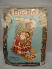 Santa's Visit Bucilla Christmas Needlepoint Stocking Kit 60702 Linda Gillum 18""