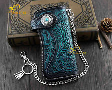 Men's Motorcycle Punk Genuine Leather Carved Wallet With Metal Key Chain H-20