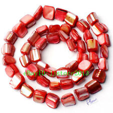6-8mm Natural Red Shell MOP Freeform Shape Gemstone Loose Beads Strand 15""
