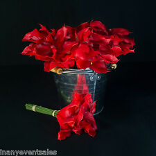 12 x REALISTIC Red Calla Lily Bunches – Artificial Flower | WHOLESALE