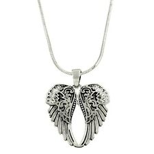 "Angel Wings Charm Pendant Fashionable Necklace - Sparkling Crystal - 17"" Chain"