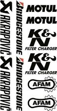 x10 belly pan Sponsor logo Stickers Akraprovic Bridgestone Motul Afam Black 07
