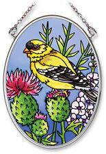 "American Goldfinch Thistle Sun Catcher  3.25"" x 4.5"" AMIA Small Oval Handpainted"
