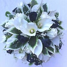 BRIDES POSY BOUQUET, CALA LILIES, IVORY & NAVY BLUE,  ARTIFICIAL WEDDING FLOWERS