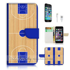iPhone 6 Plus (5.5') Flip Wallet Case Cover! P0775 Basketball Court