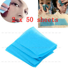 100 Sheets Make Up Oil Tissue Absorbing Blotting Facial Face Clean Blue Paper