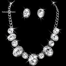 Oval Round Cut BEZEL SET Cz Crystal Tennis Statement Necklace Stud Earrings NEW