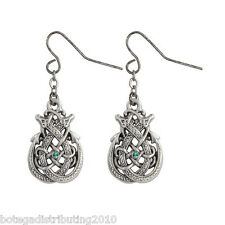 Celtic Double Dragon Hook Earrings Silver Lead Free Pewter Green Stone 3/4""