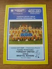 07/11/1989 Torquay United v Bristol Rovers [Leyland Daf Cup] (No apparent faults
