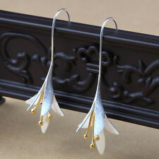 Elegant Golden 925 Silver Lotus Flower Leaf Drop Dangle Hook Earrings Jewelry