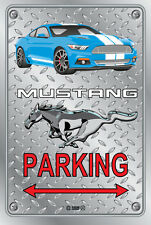 Parking Sign Metal MUSTANG 2015 Shelby GT- 12 BLUE - Checkerplate Look