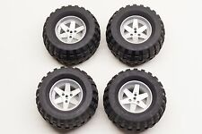 Lego Technic 4 Tires Wheels Metallic Silver Large Power Puller 22969 32298 8466