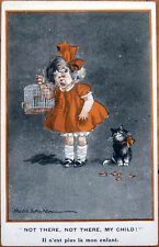 1915 Fred Spurgin/Artist-Signed Postcard: Cat Eats Crying Little Girl's Bird