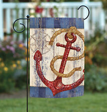 NEW Toland - Rustic Anchor and Compass - Nautical Red Blue Garden Flag
