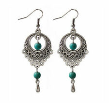 Cute New & Fun to Wear Tibetan Silver Turquoise Bead Fancy Dangle Drop Earrings~