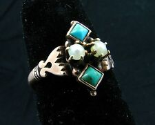 ANTIQUE TURQUOISE & PEARL RING *10K ROSE GOLD* VICTORIAN c.1875