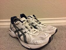 Men's ASCIS White Leather Running Walking Shoes Athletic Sz 10