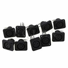10pcs XLR 3pin Female Jack Panel Mount Chassis PCB Socket Connector Black