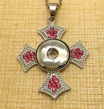 Crystal Cross DIY Genuine Pendant Necklace fit noosa chunk snaps button OC58