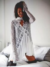 Free People Tell Tale Secret Origins Long Sleeve Lace Ivory Tunic Dress. BNWT